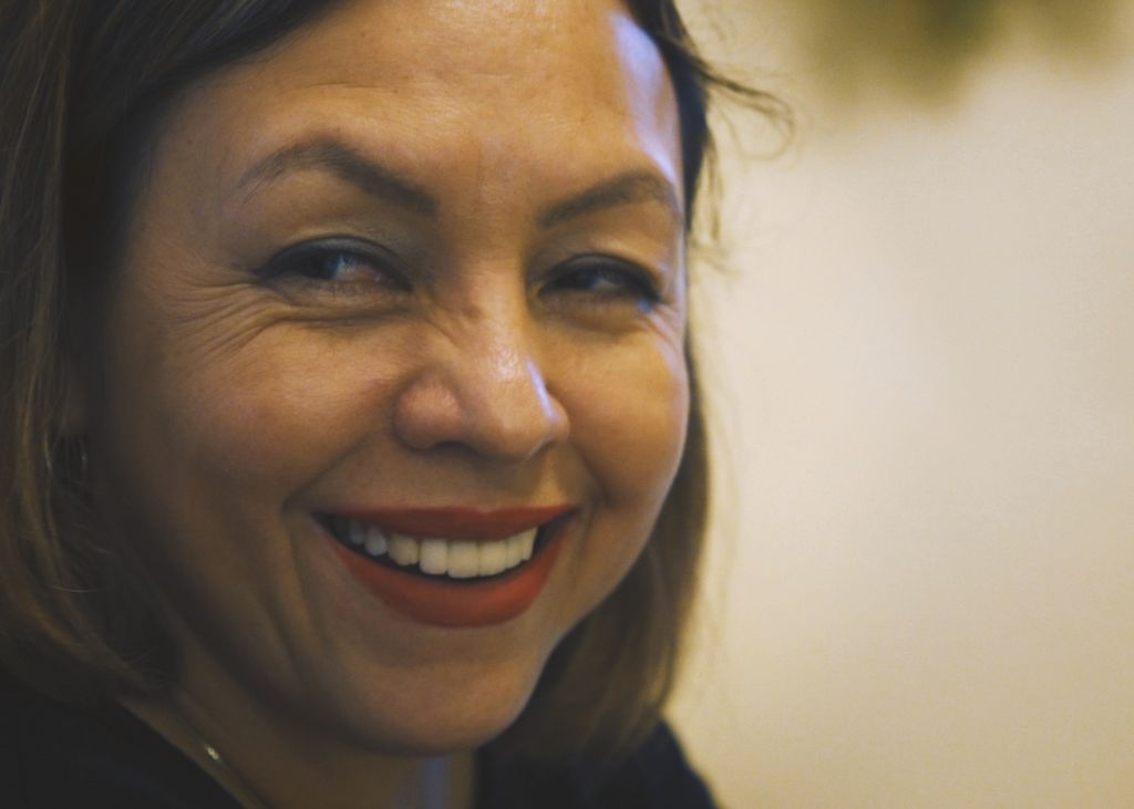 Close up shot of Griselda Quintanilla smiling